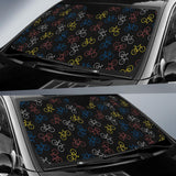Bicycle Pattern Print Design 03 Car Sun Shade-JORJUNE.COM