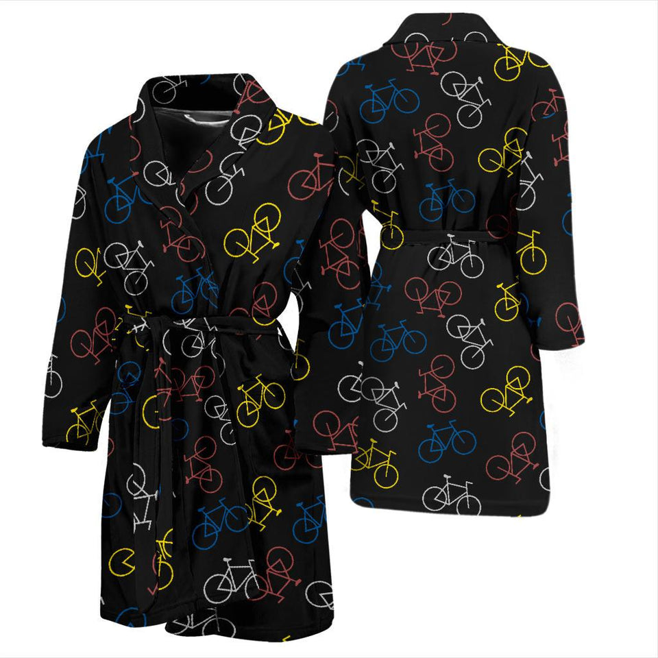 Bicycle Pattern Print Design 03 Men Bathrobe-JORJUNE.COM