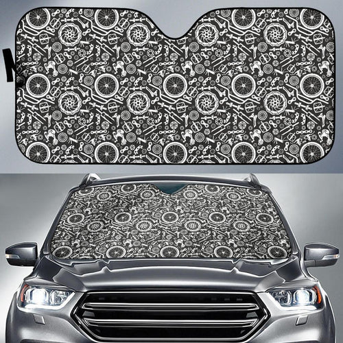 Bicycle Tools Pattern Print Design 02 Car Sun Shade-JORJUNE.COM