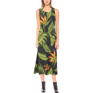 Bird Of Paradise Pattern Print Design BOP013 Sleeveless Open Fork Long Dress