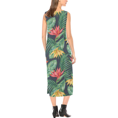 Bird Of Paradise Pattern Print Design BOP09 Sleeveless Open Fork Long Dress
