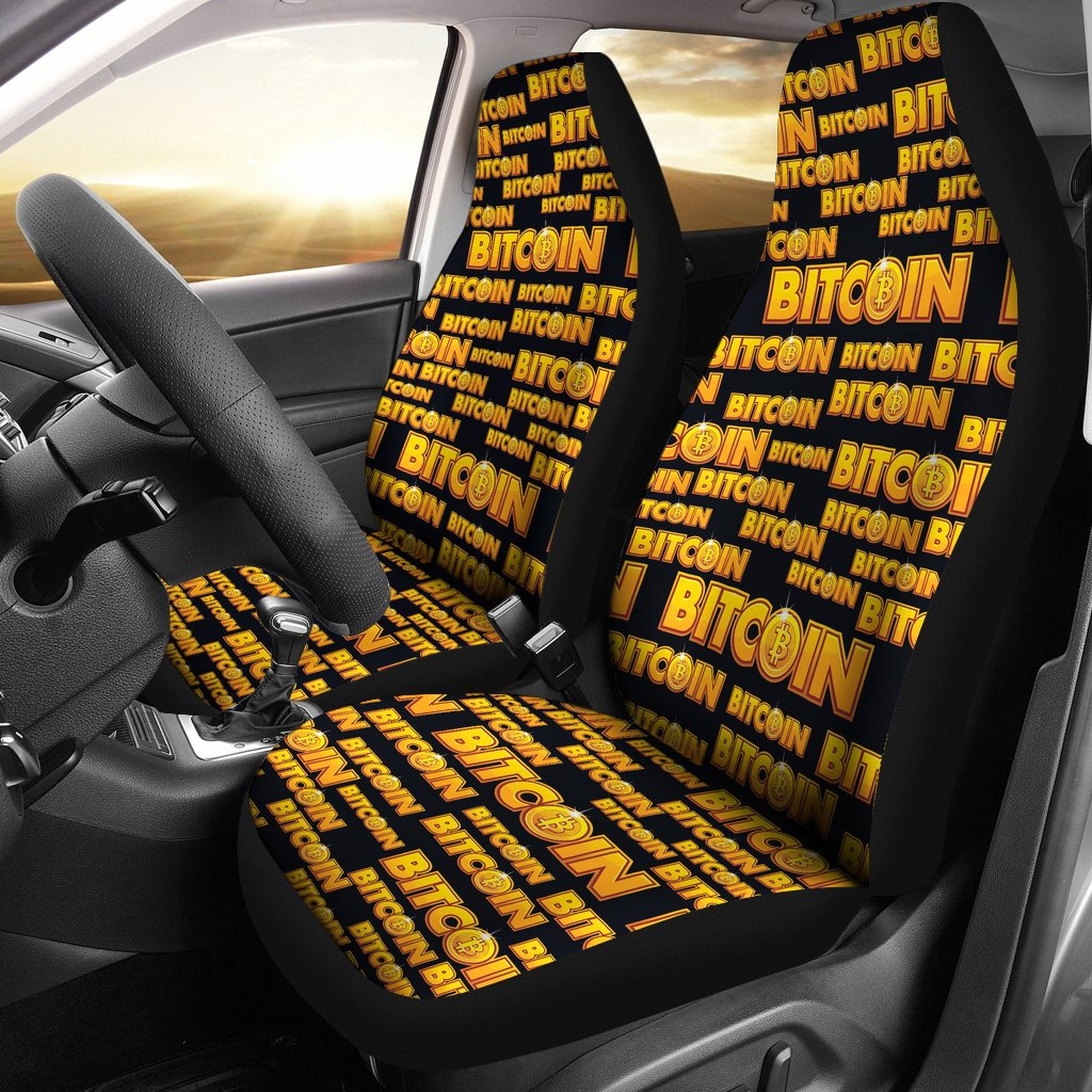 Bitcoin Pattern Print Design DO03 Universal Fit Car Seat Covers