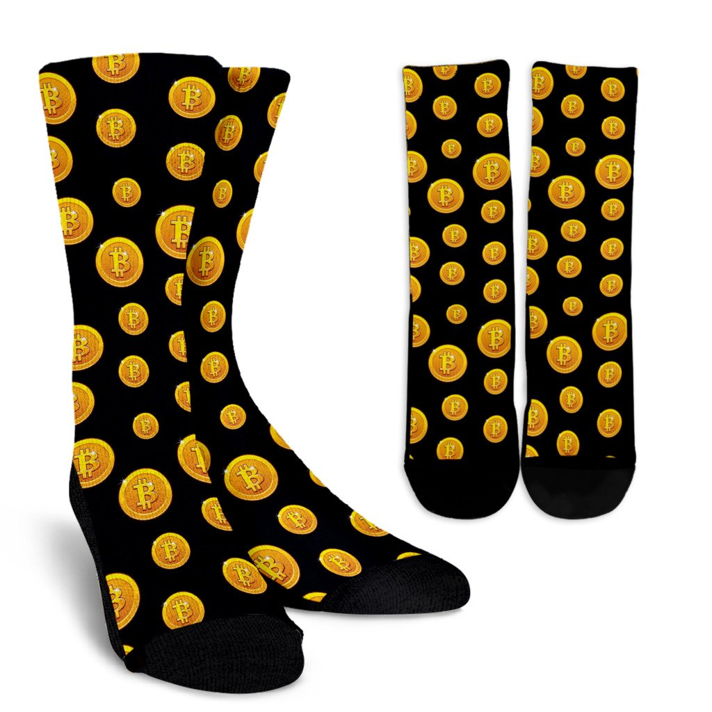 Bitcoin Pattern Print Design DO04 Crew Socks-JORJUNE.COM