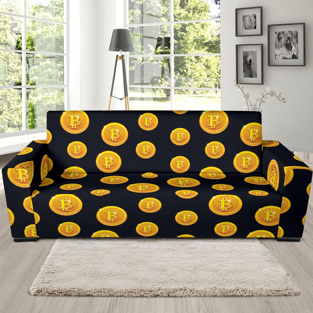 Bitcoin Pattern Print Design DO04 Sofa Slipcover-JORJUNE.COM