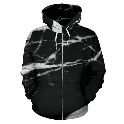 Black and White Marble All Over Zip Up Hoodie