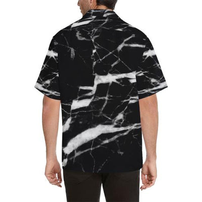 Black and White Marble Men Hawaiian Shirt