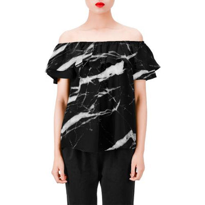 Black and White Marble Off Shoulder Ruffle Blouse