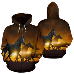 Black Horses riding Women Men Zip Up Hoodie