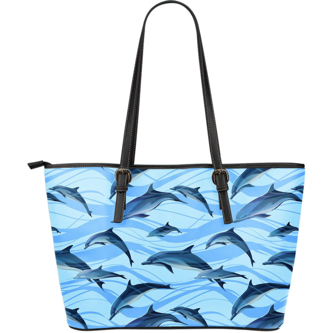 Blue Dolphin Large Leather Tote Bag
