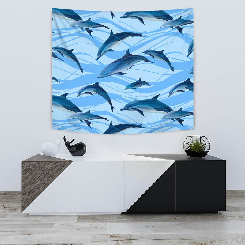 Blue Dolphin Wall Tapestry
