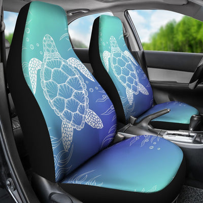 Blue gradient Sea Turtle Print Universal Fit Car Seat Covers