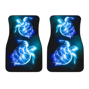 Blue Neon Sea Turtle Print Car Floor Mats
