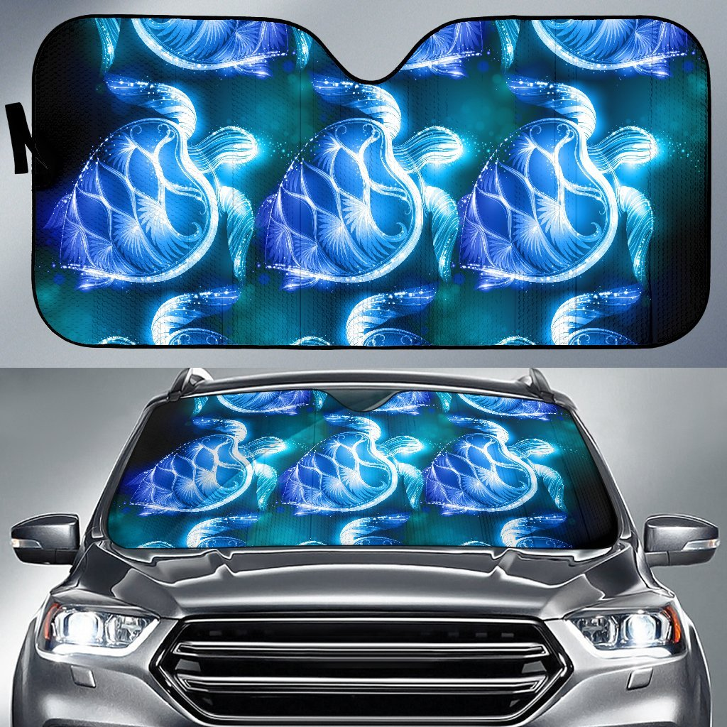 Blue Neon Sea Turtle Print Car Sun Shade-JorJune