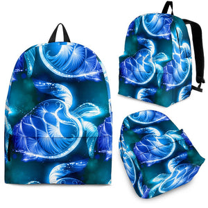 Blue Neon Sea Turtle Print Premium Backpack