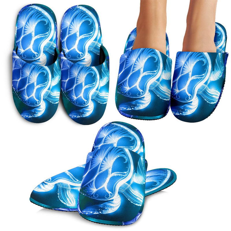 Blue Neon Sea Turtle Print Slippers