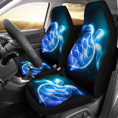 Blue Neon Sea Turtle Print Universal Fit Car Seat Covers
