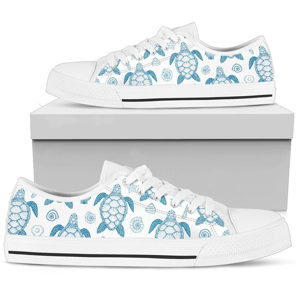 Blue Sea Turtle Pattern Women Low Top Canvas Shoes