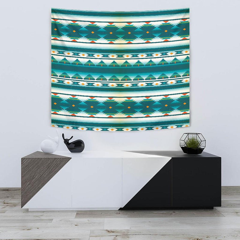 Blue Tribal Aztec Tapestry