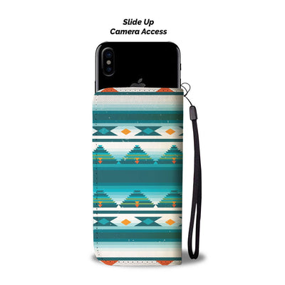 Blue Tribal Aztec Wallet Phone case