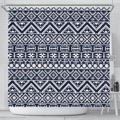 Blue White Tribal Aztec Shower Curtain