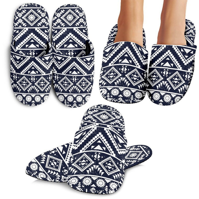 Black White Tribal Aztec Slippers
