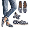 Blue White Tribal Aztec Women Casual Shoes-JorJune.com