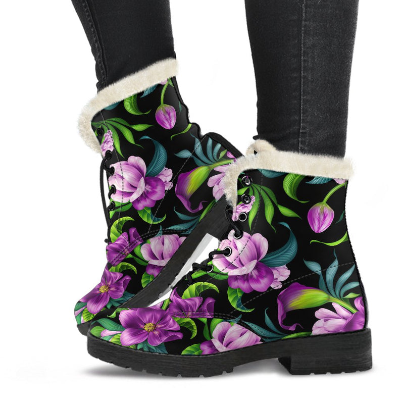 Bright Purple Floral Pattern Faux Fur Leather Boots