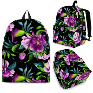 Bright Purple Floral Pattern Premium Backpack