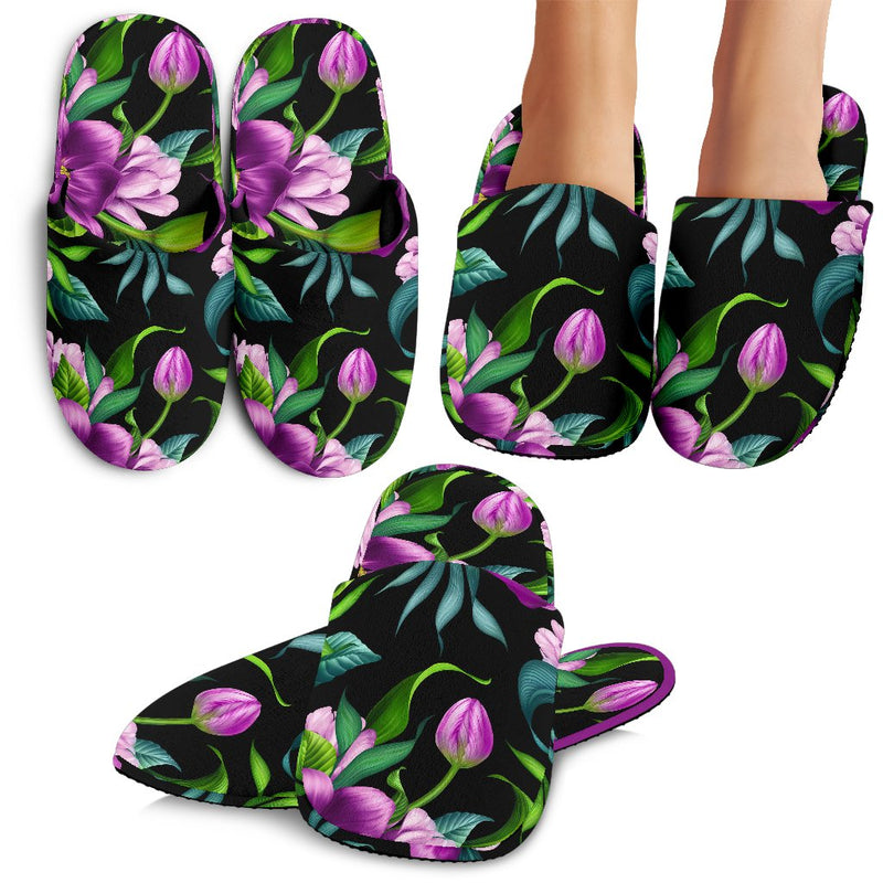Bright Purple Floral Pattern Slippers