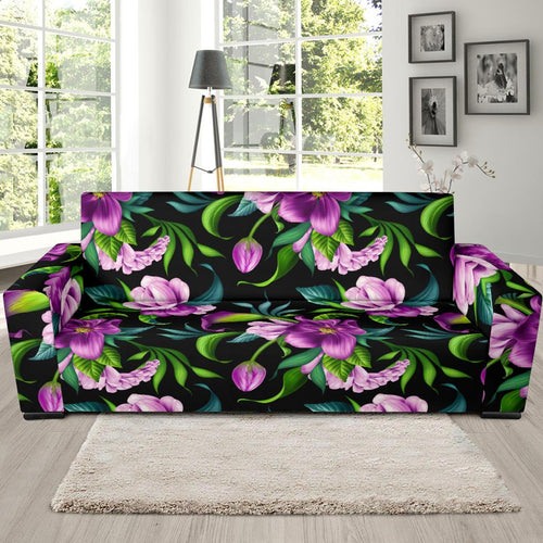 Bright Purple Floral Pattern Sofa Slipcover-JORJUNE.COM