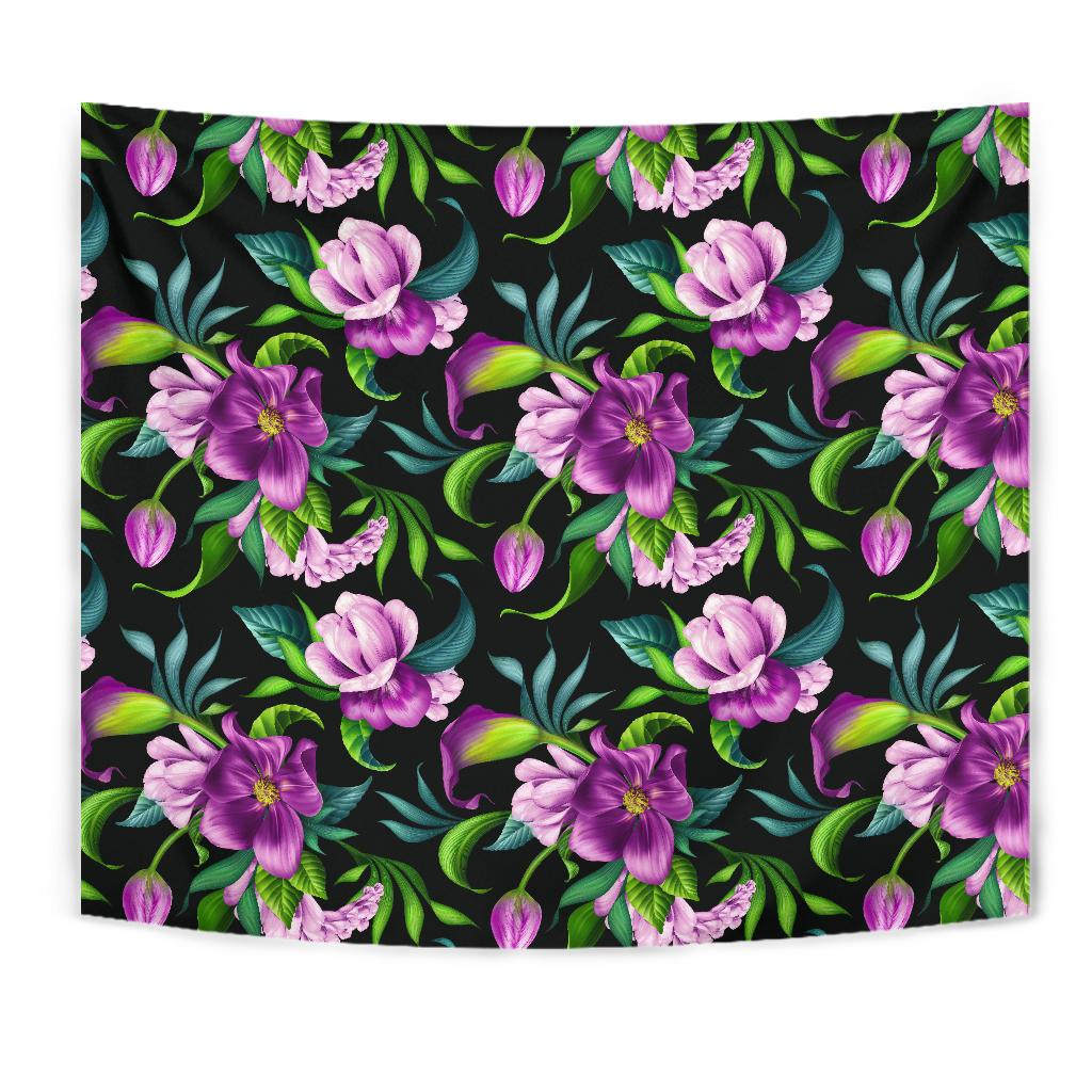 Bright Purple Floral Pattern Tapestry