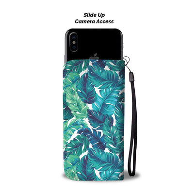 Brightness Tropical Palm Leaves Wallet Phone Case