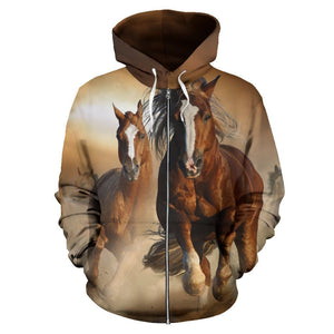 Brown Couple Horses Pullover Hoodie