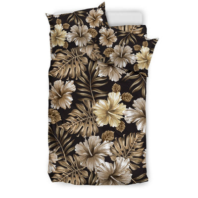 Brown Hibiscus Tropical Duvet Cover Bedding Set