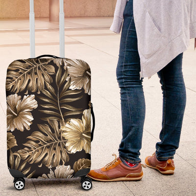Brown Hibiscus Tropical Luggage Cover Protector