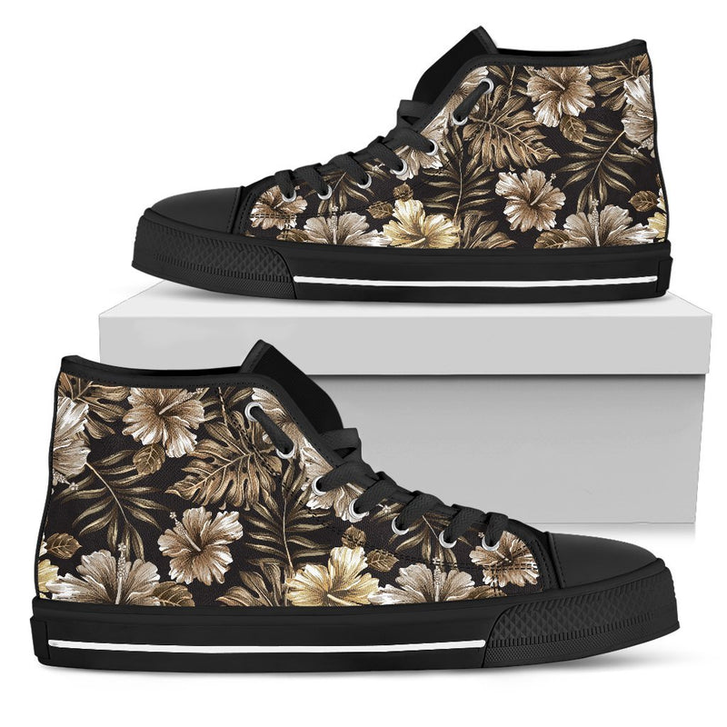 Brown Hibiscus Tropical Men High Top Canvas Shoes