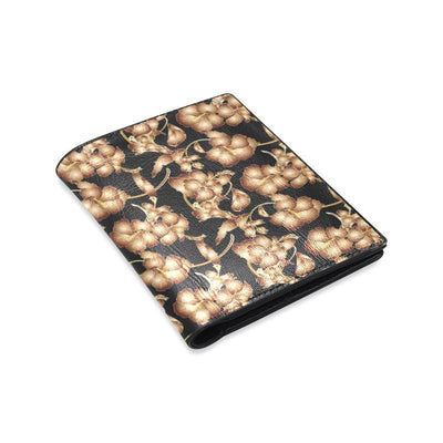 Brown Hibiscus Pattern Print Design HB06 Men's Leather Wallet-JorJune