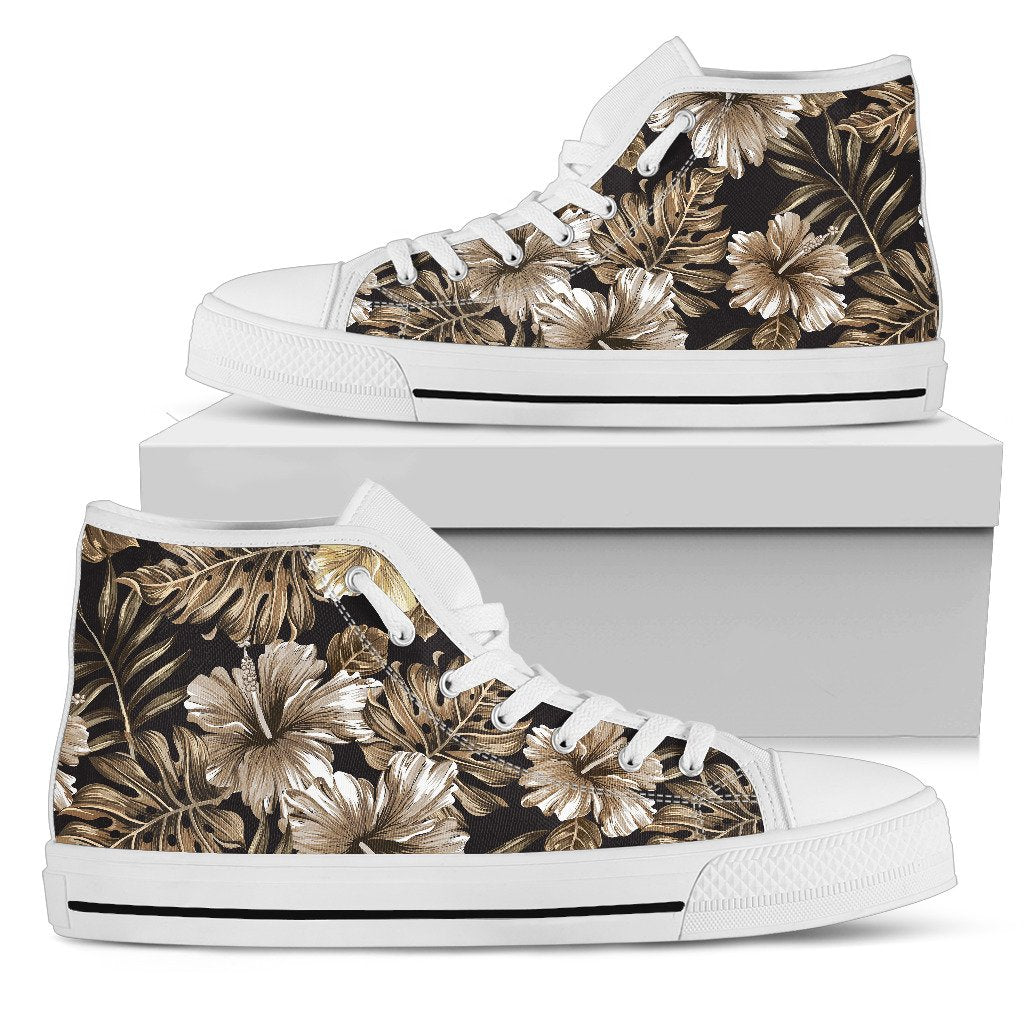 Brown Hibiscus Tropical Men High Top Shoes