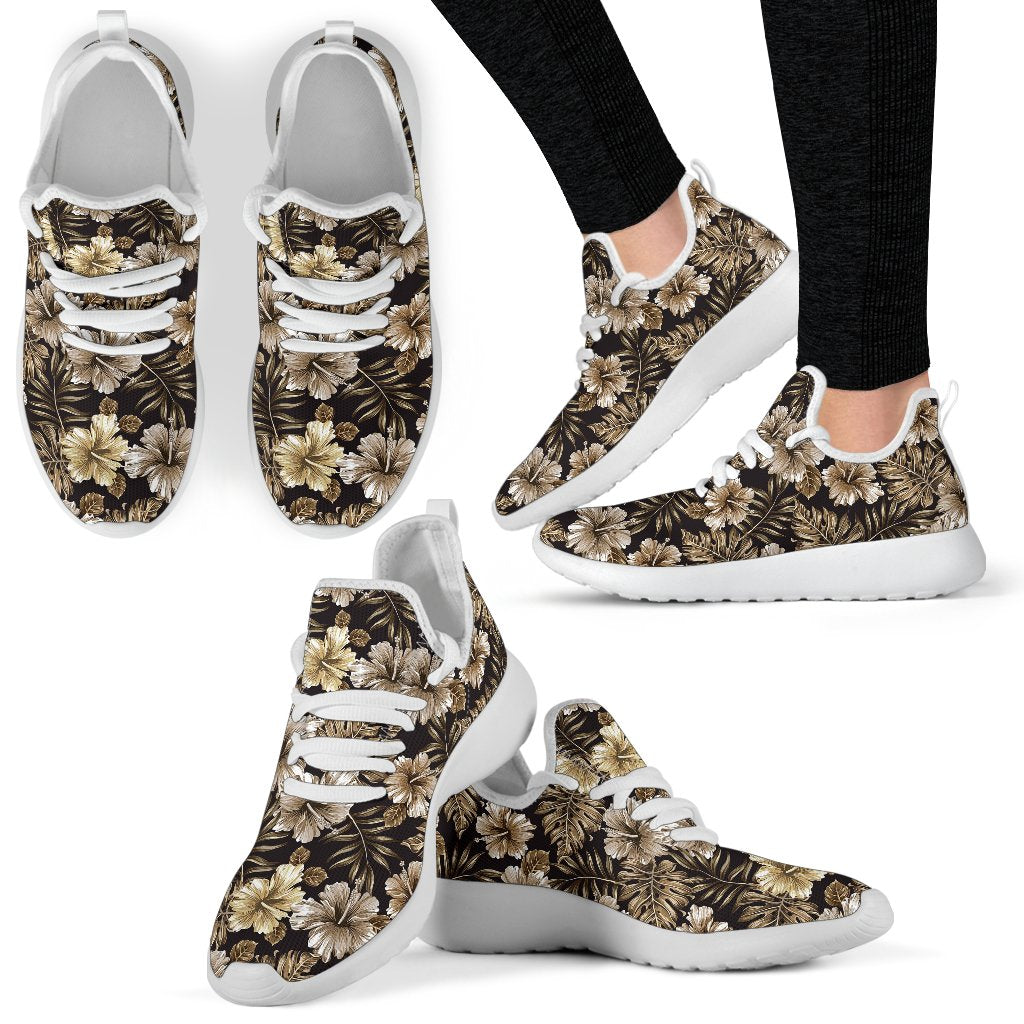 Brown Hibiscus Tropical Mesh Knit Sneakers Shoes