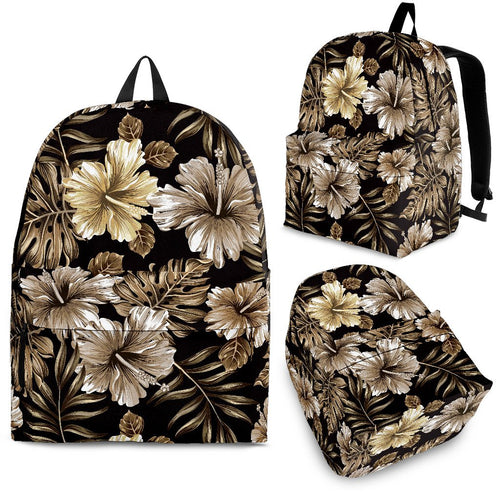 Brown Hibiscus Tropical Premium Backpack