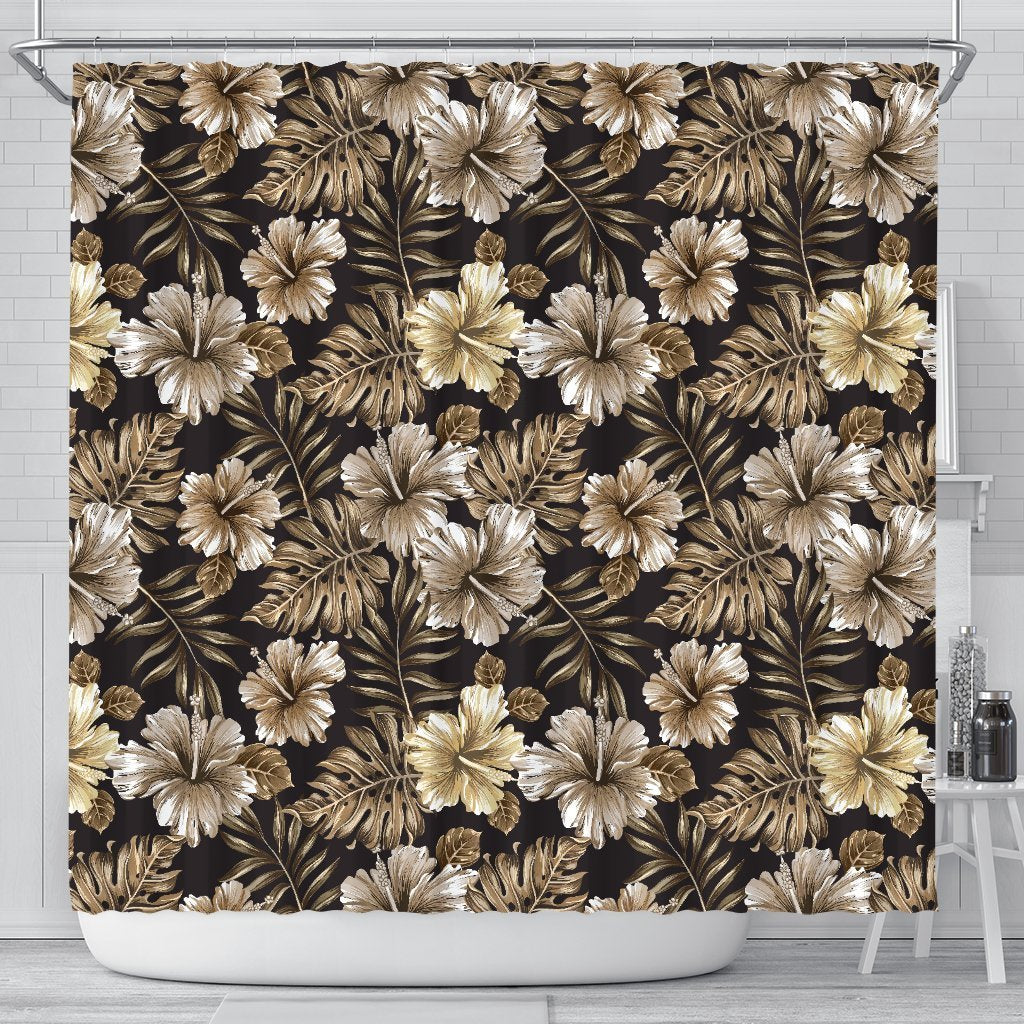 Brown Hibiscus Tropical Shower Curtain