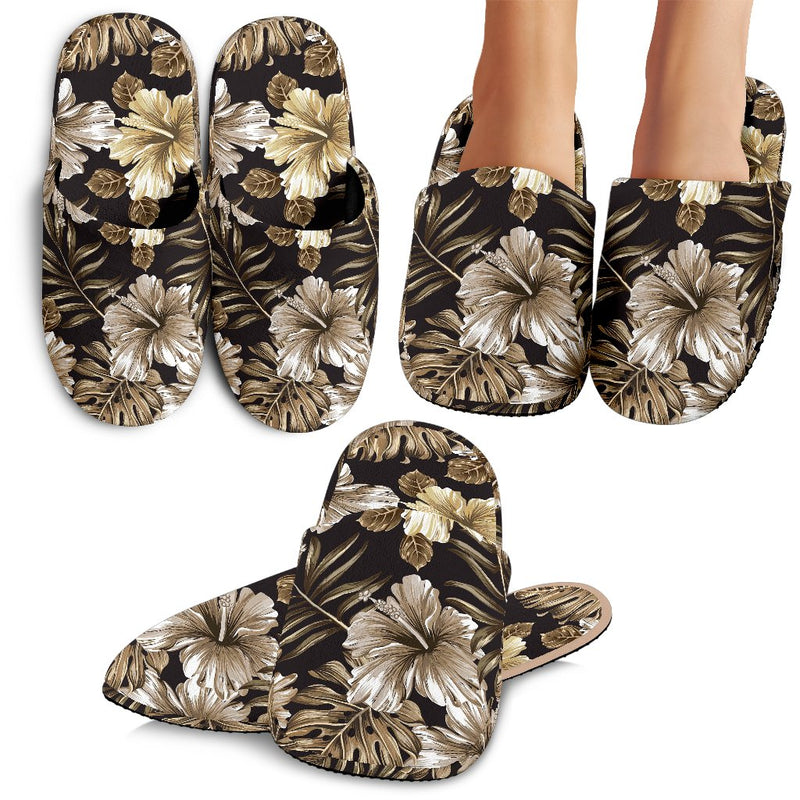 Brown Hibiscus Tropical Slippers