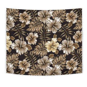 Brown Hibiscus Tropical Wall Tapestry