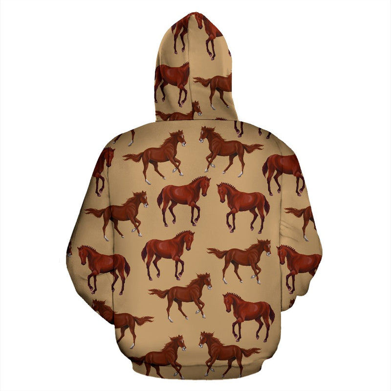 Brown Horse Print Pattern All Over Zip Up Hoodie