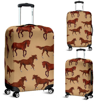 Brown Horse Print Pattern Luggage Cover Protector