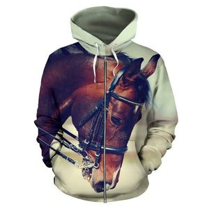 Brown Horse Women Men Zip Up Hoodie