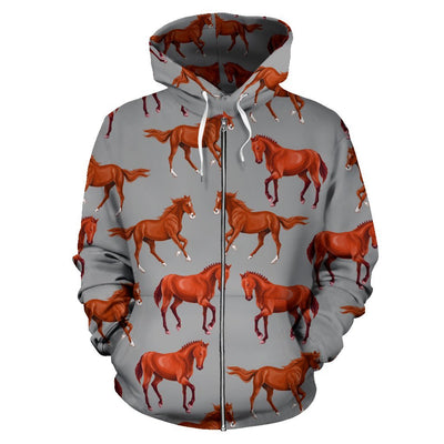 Brown Horses Patterns Women Men Zip Up Hoodie