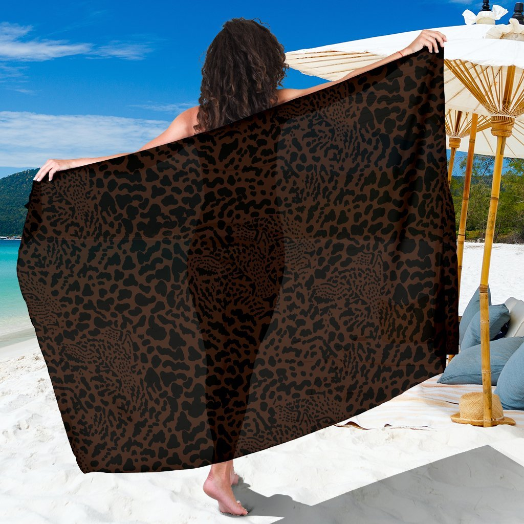 Brown Leopard Beach Sarong Pareo Wrap