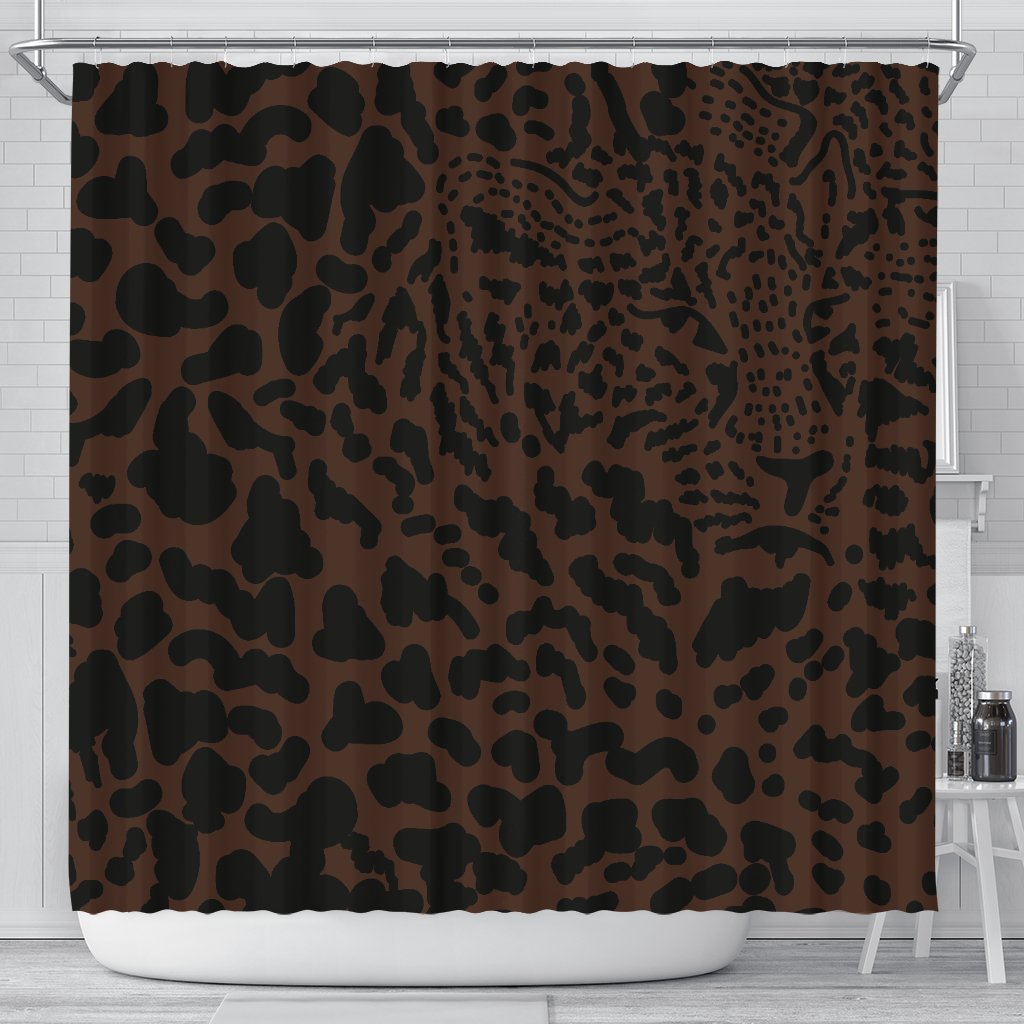 Brown Leopard Shower Curtain JorJune