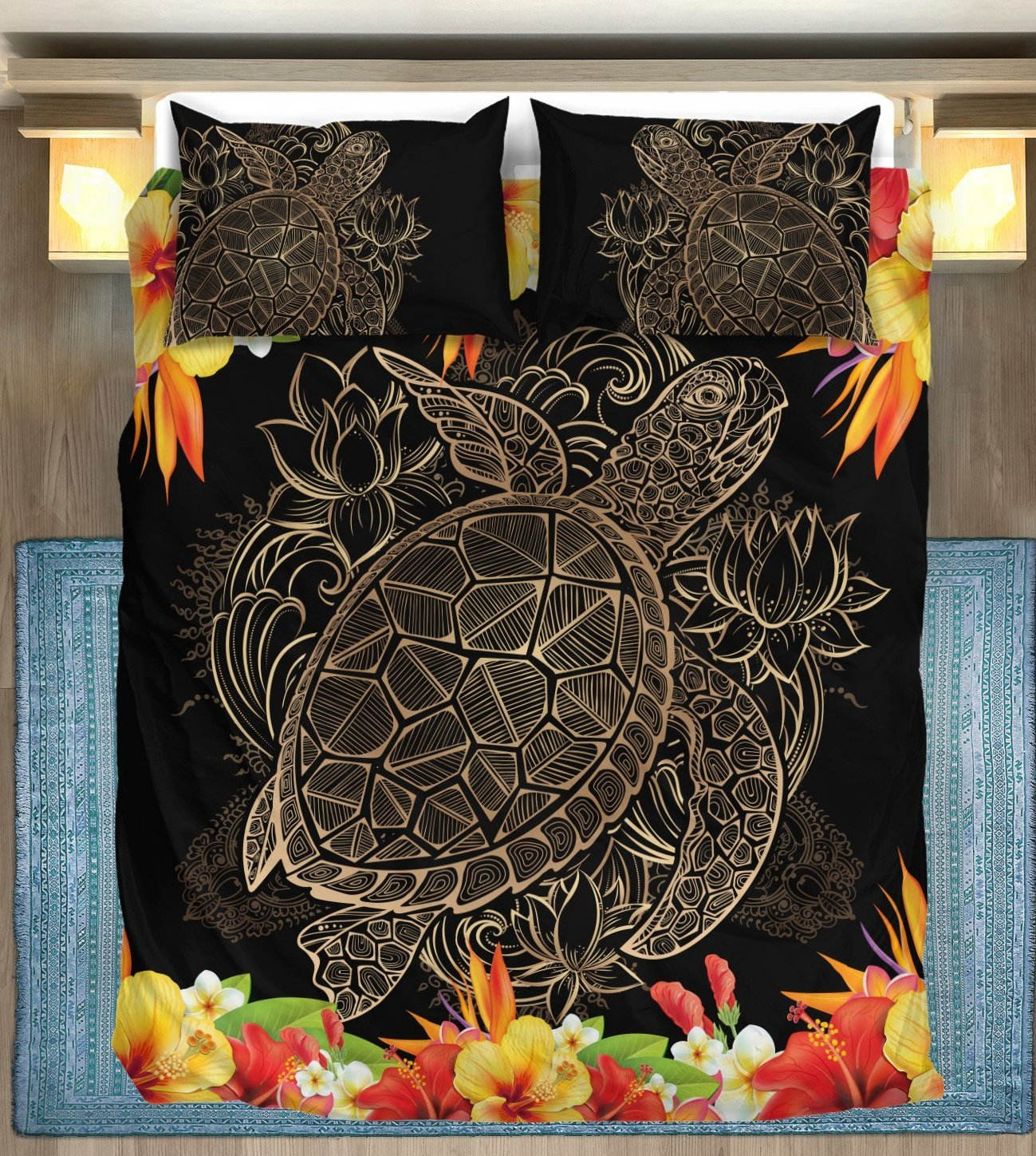 Brown Sea Turtle Hawaiian Flowers Duvet Cover Bedding Set
